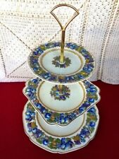 CROWN DUCAL Florentine ENGLAND Raised Fruit & Flowers SERVING TRAY Tiered RARE