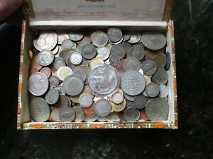 3 Pound Lot of World Coins in A Vintage  Cigar Box Plus  8 Oz. of Silver Coins