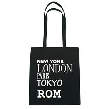 New York, London, Paris, tokyo roma - Borsa di iuta Borsa - colore: Nero