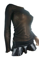 Women's Black or White SEE-THROUGH Mesh (Stretchy) Long Sleeved Shirt/Top