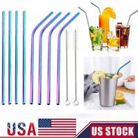 "5-10Pcs Stainless Steel Drinking Straw Reusable Straws + Cleaner Brush Kit 10.5"""