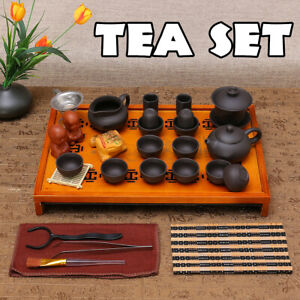 Chinese Kung Fu Tea Set Tea Ceremony Purple Clay Teapot Cup + Wood Tray
