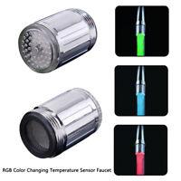 Glow LED Faucet Temperature Sensor RGB Color Shower Intelligent Water Nozzle Tap