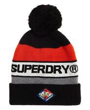 Superdry M90005LR/A0C Mens Trophy Beanie Hat Black / Hazard Orange