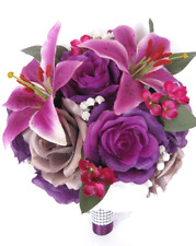 17 piece Wedding Bouquet package Bridal Silk Flowers PURPLE LILY PLUM GRAY set