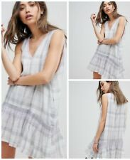 Free People Dress Swingy Run With S Me Plaid Neutral Combo Embroidered Mini $128