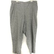 Eileen Fisher Womes Slim Ankle Pants Size XL Black White Wool Blend Plaid
