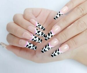 Long coffin ballerina animal cow print French press on fake false nails in a box