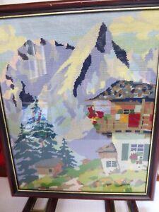 Alpine Chalet Scene Cross Stitch Framed Tapestry Fire Guard Handmade Shabby Chic
