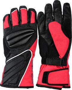 Milano Sport Leather Nylon Black Red Waterproof Motorcycle Winter Glove New