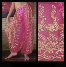 Harem Pants Belly Dance Fuchsia Pink w/ Gold Brocade Slit 6