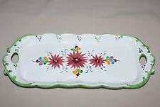 """13.5"""" Rectangular Tray Handles Vestal Portugal 1090 Red Flowers Green Accents"""