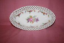 Vintage Schumann Arzberg Germany Floral Porcelain Bowl w/Pierced Edge