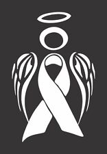 White Lung Cancer Angel - Die Cut Vinyl Window Decal/Sticker for Car/Truck