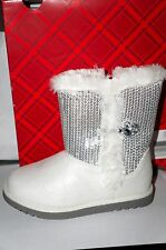 "SONOMA LIFE+STYLE Toddler Girls' Sequined Boots ""White/Silver"" Size 11 MED NWT"