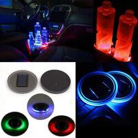 2X Auto Car Solar Cup Holder Bottom Pad Mat LED Light Cover Trim Atmosphere Lamp