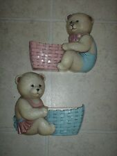 Vintage Home Interiors Set Of 2 Bear Wall Planters Or Pockets /Pink & Blue