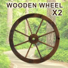 Large Wooden Wheel Garden Decor Feature Outdoor Wagon Wheels x2