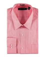 Tommy Hilfiger Mens Red Striped Button-Front Dress Shirt NWT $69 Size S 14 32/33