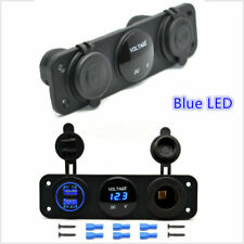 3 IN 1 CAR VAN BOAT VOLT METER USB PORT CIGARETTE SOCKET SWITCH PANEL MOUNT UK