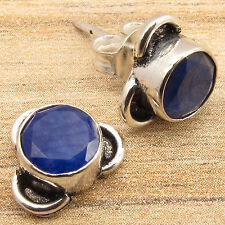 Earrings ! Silver Plated Jewelry Simulated Sapphire Stones, Handcrafted Stud