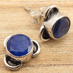 Simulated SAPPHIRE Stones, HANDCRAFTED Stud Earrings ! Silver Plated Jewelry