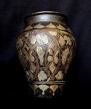 Antique 1880's - Damascus Art Style in Egypt , Silver & Copper Inlaid  Vase