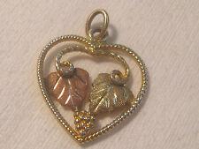 Vintage STAMPER Black Hills Gold 12K Gold Two Leaf Open Heart Pendant