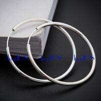 Women's 925 Sterling Silver Classic Medium Endless Thin Hoop Earrings H3Q-30MM