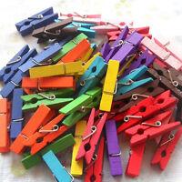 50/100pcs Wooden Clips Photo Natural 25mm Craft Peg Mini Paper Clothe.Pro-AU
