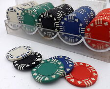 Ultimate Poker Game set Chips 11 5g 100pc 5 colours in Clear Plastic case