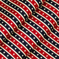100% Cotton Fabric FQ - White Star In Red & Blue Stripe Retro Print Quilting A87