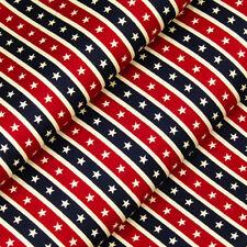 100% Cotton Fabric FQ - White Star In Red & Blue Stripe Retro Print Quilting A87
