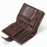 Men's Genuine Leather Wallet Coin Purse Card Case Mens Vintage Trifold Wallets