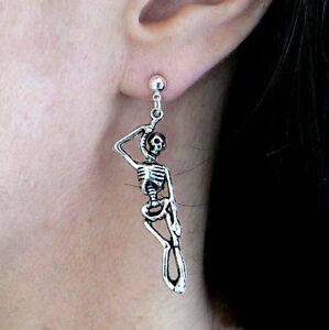 Skeleton Earrings Hypoallergenic Studs, Fishhooks or Clip-on. Goth Punk Gift