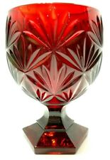 VINTAGE 1980s LUMINARC RED GLASS COMPOTE CANDY DISH PALM LEAF PATTERN FRANCE