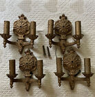 Antique Cast Brass Electric Double Light Wall Scone Lot of 4