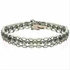 """925 Silver Filigree CZ Vintage-Style Bracelet,7"""""""