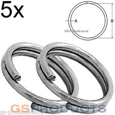 5x 10mm Stainless Steel Split Clevis Key Ring FREE Postage & Packaging!