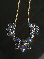 "Navy Blue (Multi Shades Of Blue) & Gold Tone 18"" Necklace W/3.5"" Extender"