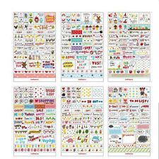 6x Cartoon Transparent Calendar Diary Note Book Sticker Scrapbook Decoration