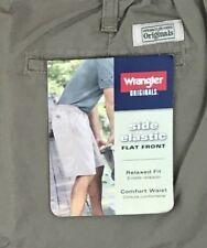 Wrangler Originals Cotton Shorts Mens 32 Side Elastic Flat Front Green NWT