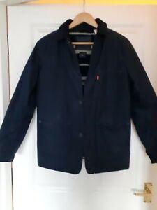 "Levis Halley Stevensons Blue Waxed Sherpa Chore / Sack  Jacket S  36""-38"""