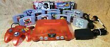 Nintendo 64 N64 Fire Orange Console + Official Controller + 15 Games Bundle GSP
