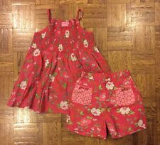 Girls Room Sever Set Smocked Top And Shorts Red Floral Size 140 (9-10) EUC