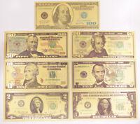 1 Set 7 Pcs $1-$100 US Dollar Paper Money Banknote Color Gold Bill Crafts