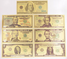 10 Set 70 Pcs Us Dollar Banknote Color Gold $1-$100 Bill Crafts Paper Money New