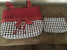 N. GIL Alabama Quilted Black,White, Crimson Houndstooth Cotton Purse W/extra Bag