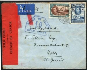 GOLD COAST Cover *Aboso* WW2 Air Mail RED LABEL Censor SWITZERLAND Uster W534a