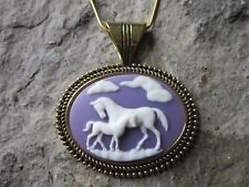HORSE AND FOAL CAMEO GOLD PLATED NECKLACE - WHITE ON PURPLE - QUALITY - PONY